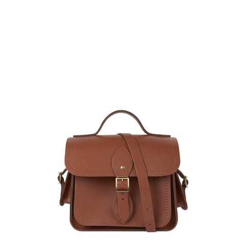 Traveller Bag with Side Pockets in Leather - Saddle