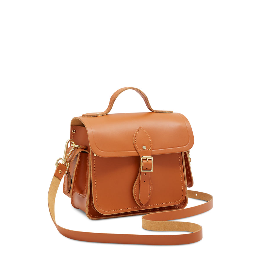 Traveller Bag with Side Pockets in Leather - Caramello