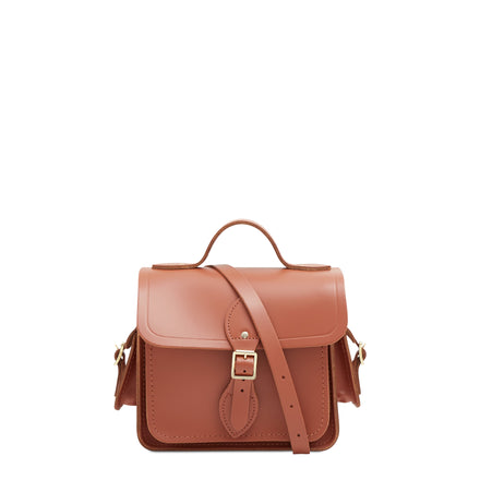 Traveller Bag with Side Pockets in Leather - Nutmeg
