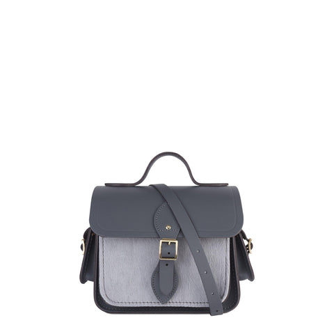 Traveller Bag with Side Pockets in Leather - Dapple Matte & Grey Haircalf Pocket