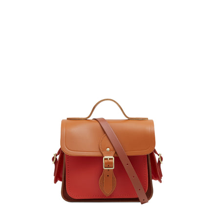 Traveller Bag with Side Pockets in Leather - Spice, Caramello & Nutmeg | Unisex Cross Body Bag