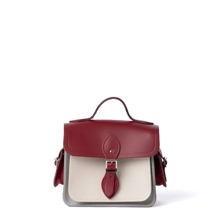 Traveller Bag with Side Pockets in Leather - Rhubarb Red, Stone & Clay Saffiano