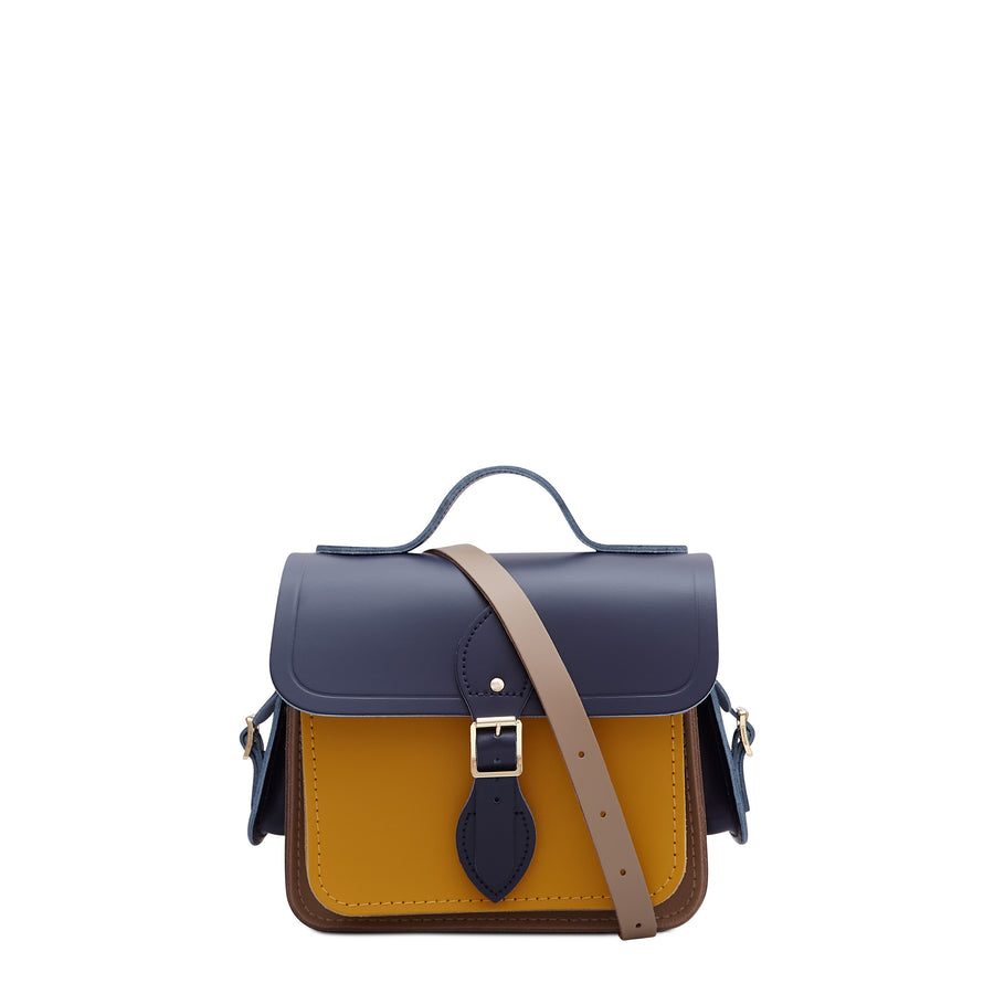 Traveller Bag with Side Pockets in Leather - Midnight, Putty & Mustard Matte