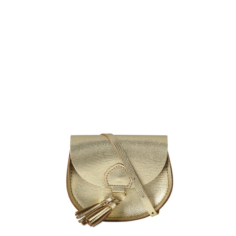 Mini Tassel Bag in Leather - Gold Lizard Print