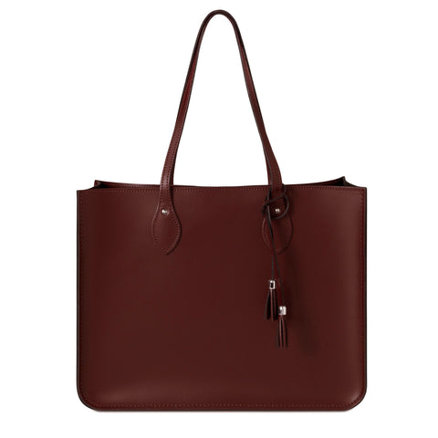Tassel Tote in Leather - Oxblood