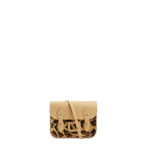 Tiny Satchel in Leather - Safari Sand with Leopard Print Haircalf Pocket - Cambridge Satchel