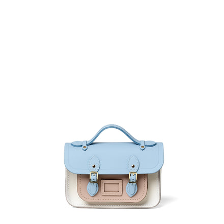 Magnetic Mini Satchel in Leather - Delphinium Matte, Biscuit Matte & Lily White