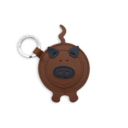 Year of the Pig Keyring Charm in Leather - Vintage & Navy