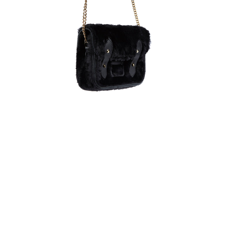 Tiny Satchel in Leather - Black Faux Fur with Gold Chain