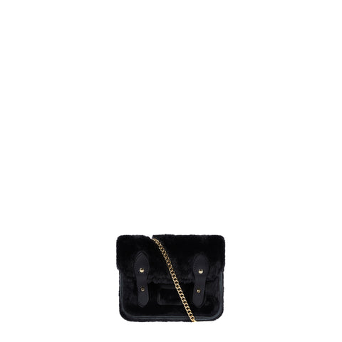 Tiny Satchel Faux Fur - Black with Gold Chain