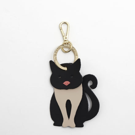 Cat Charm in Leather - Black, Clay & Hot Rose Matte
