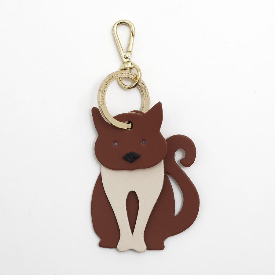 Mac the Cat Charm in Leather - Canyon, Clay & Black