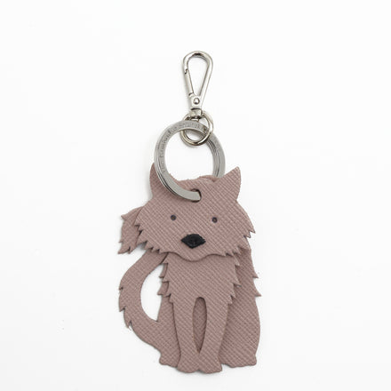 Fluffy Cat Charm in Leather - Dusky Rose Saffiano & Black