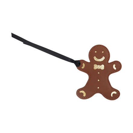 Gingerbread Man Christmas Decoration in Leather - Vintage & Metallic Gold