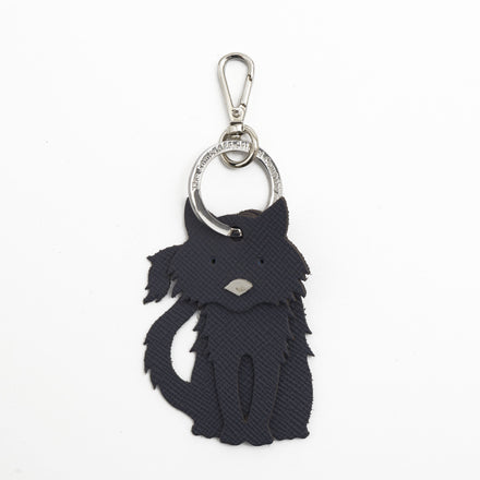Fluffy Cat Charm in Leather - Storm Matte Saffiano & Chalk Saffiano