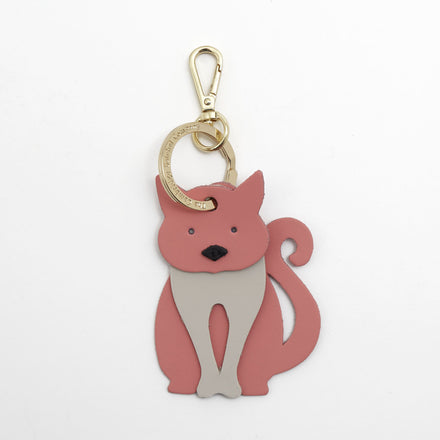 Peaches the Cat Charm in Leather - Hot Rose Matte, Clay & Black