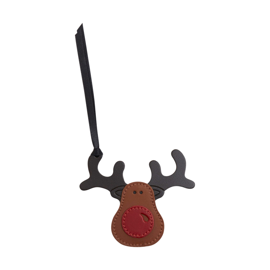 Rudolph Christmas Decoration in Leather - Vintage, Red & Dark Brown