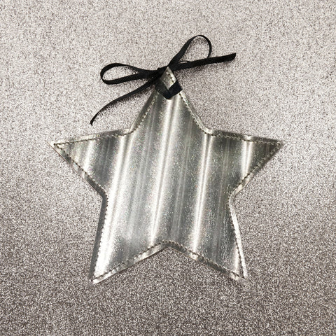 Star Christmas Decoration in Leather - Silver Metallic