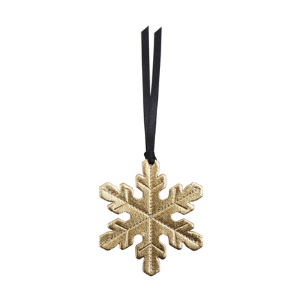 Snowflake Christmas Decoration in Leather - Metallic Gold