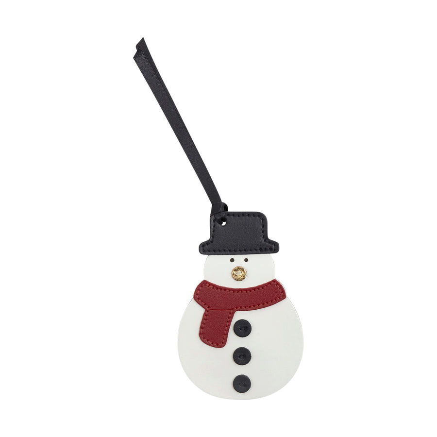 Snowman Christmas Decoration in Leather - Off White, Black, Red & Metallic Gold