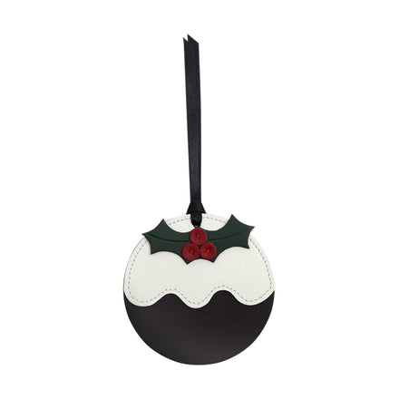 Christmas Pudding Christmas Decoration in Leather - Dark Brown, Off White, Black, Racing Green & Red