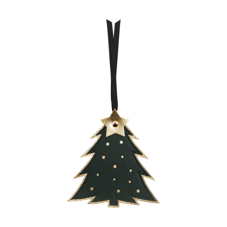 Christmas Tree Christmas Decoration in Leather - Racing Green & Metallic Gold