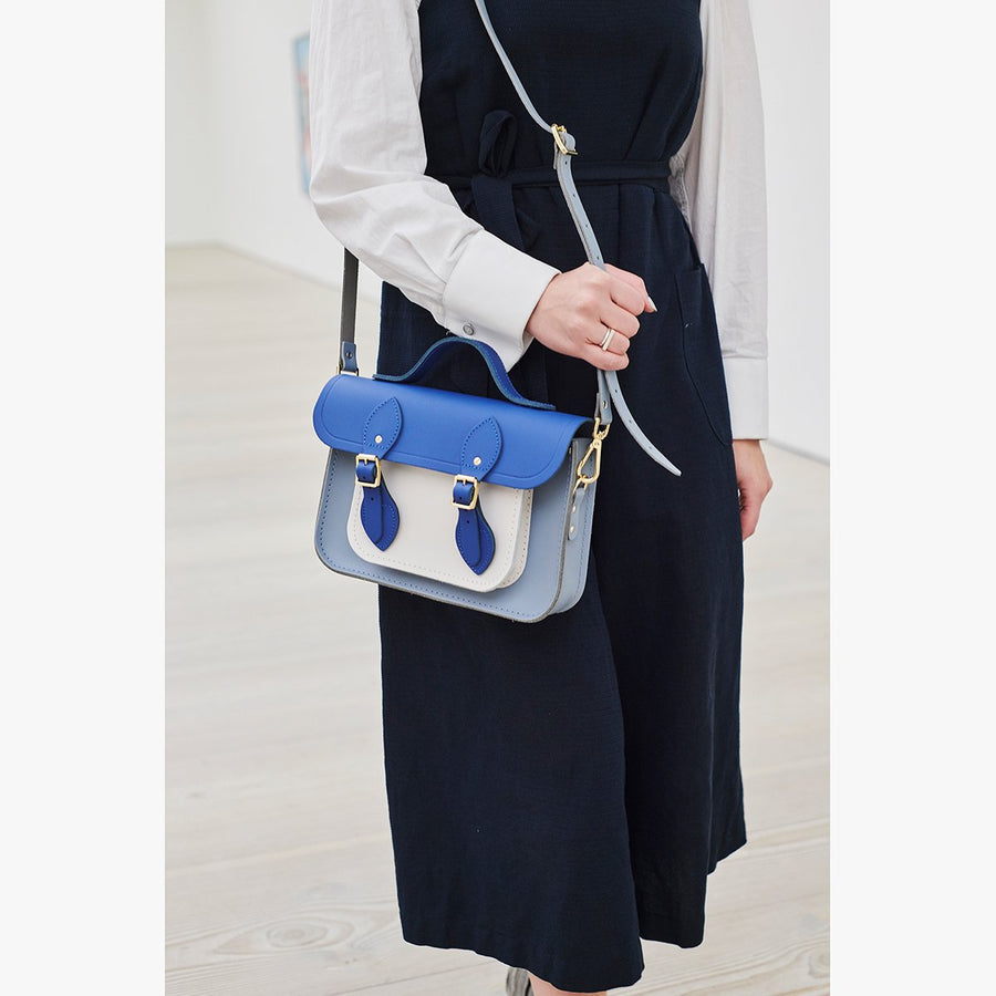 11 Inch Magnetic Batchel in Leather - Italian Blue Matte, French Grey & Clay | Cambridge Satchel