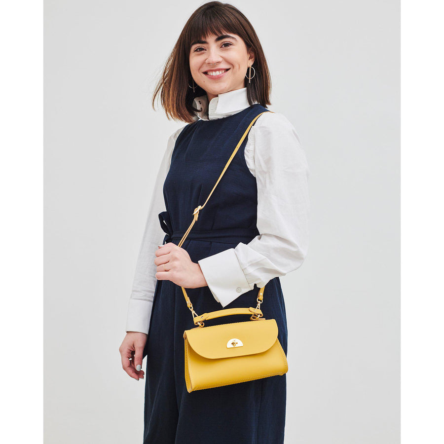 Mini Daisy Bag in Leather - Indian Yellow | Cambridge Satchel
