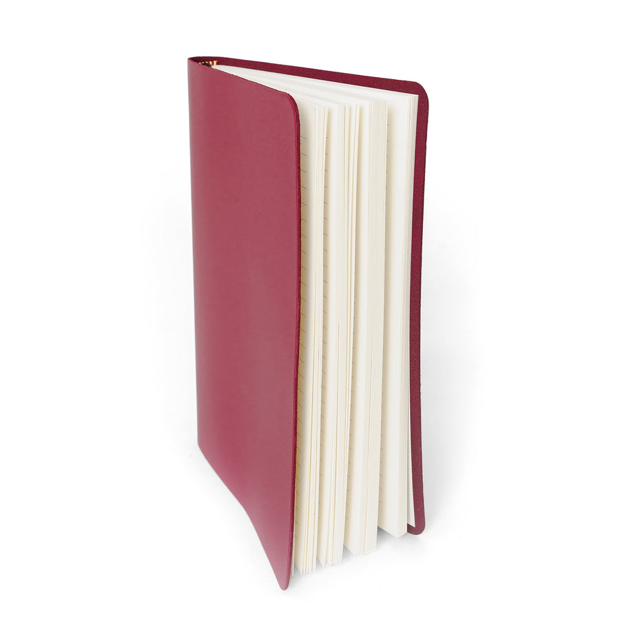 A5 Notebook in Leather - Peony Blush