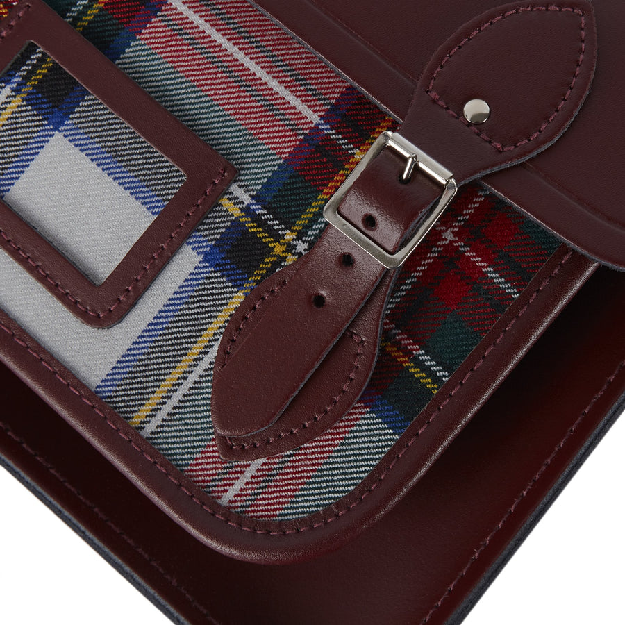 13 Inch Batchel with Magnetic Closure - Oxblood with Red Tartan