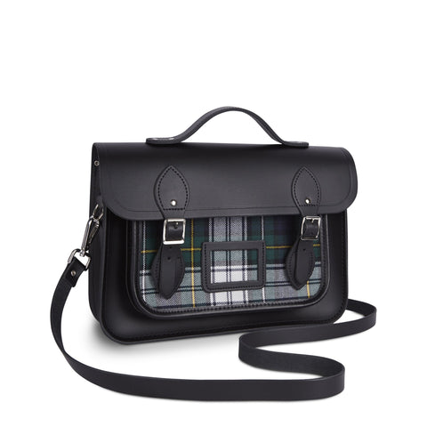 13 Inch Batchel with Magnetic Closure - Black & Black Tartan