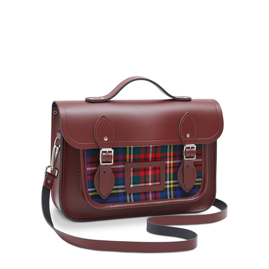 13 Inch Batchel with Magnetic Closure - Oxblood with Strome Stewart Black Tartan | Cambridge Satchel