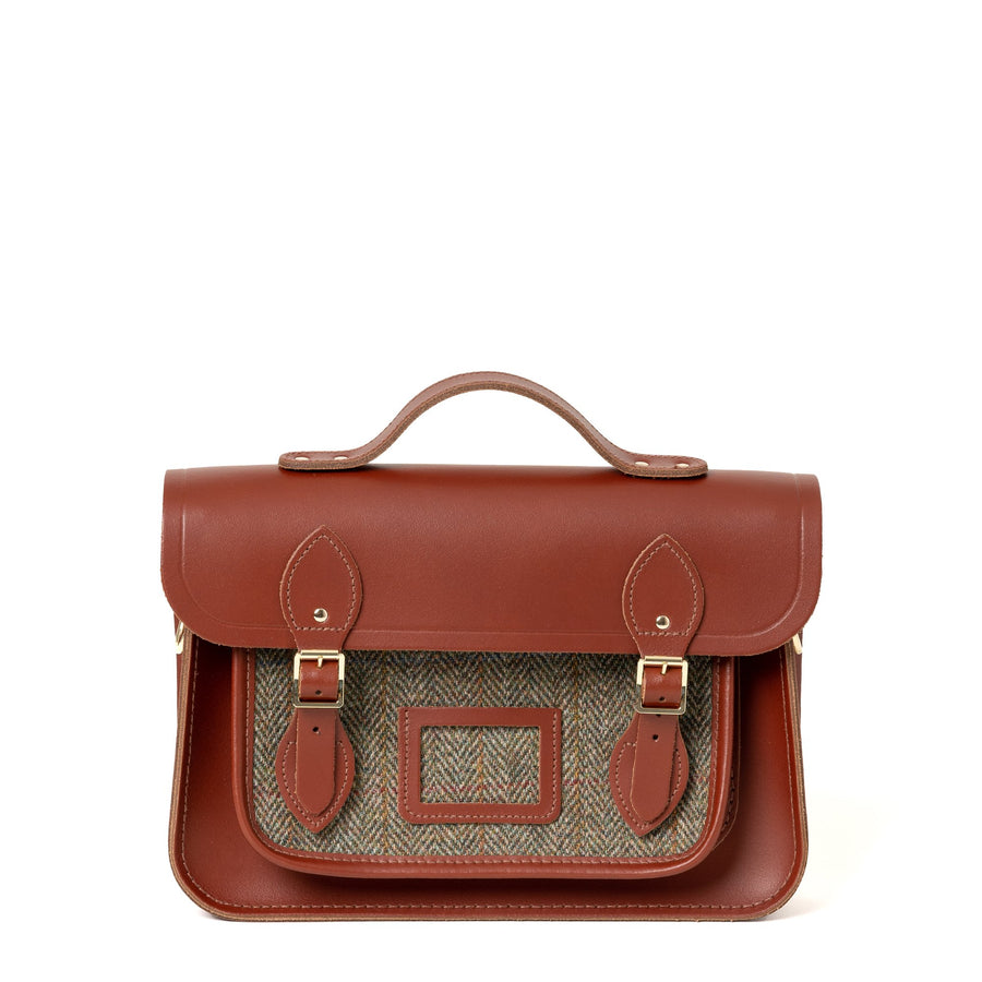 Brown with Green Tweed Cambridge Satchel Large Leather Satchel Bag