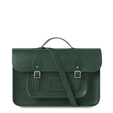 15 Inch Classic Batchel in Saffiano Leather - Racing Green Saffiano