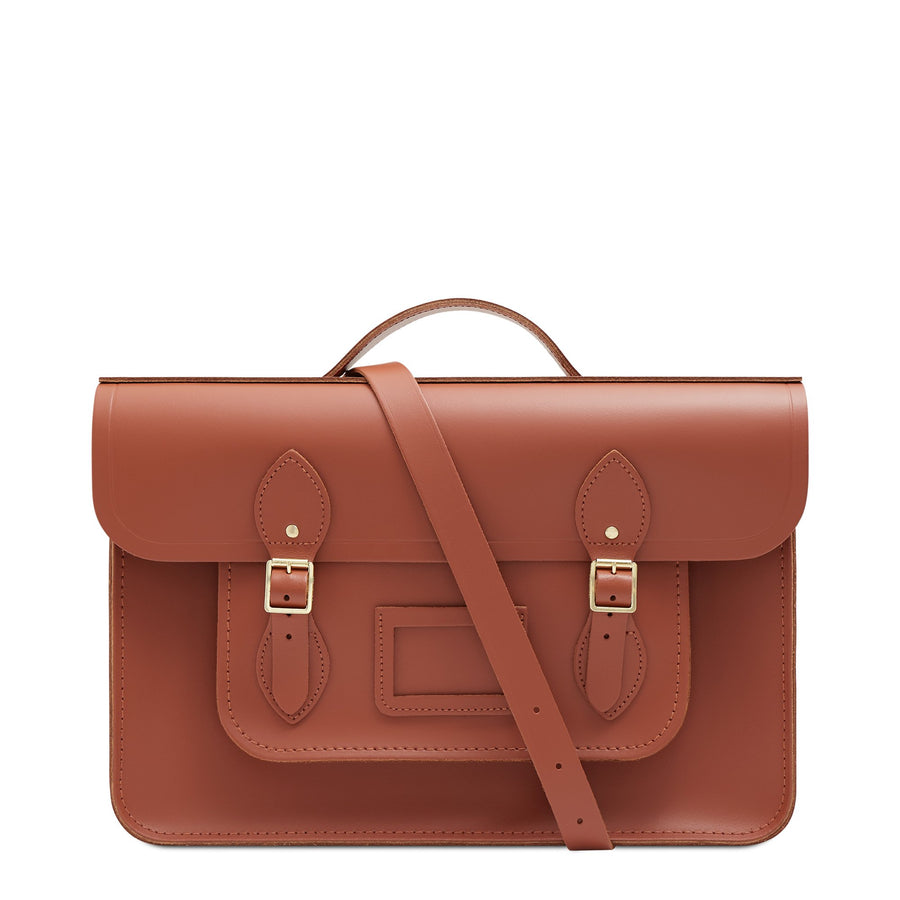 15 Inch Classic Batchel in Leather - Nutmeg | Unisex Leather Bag