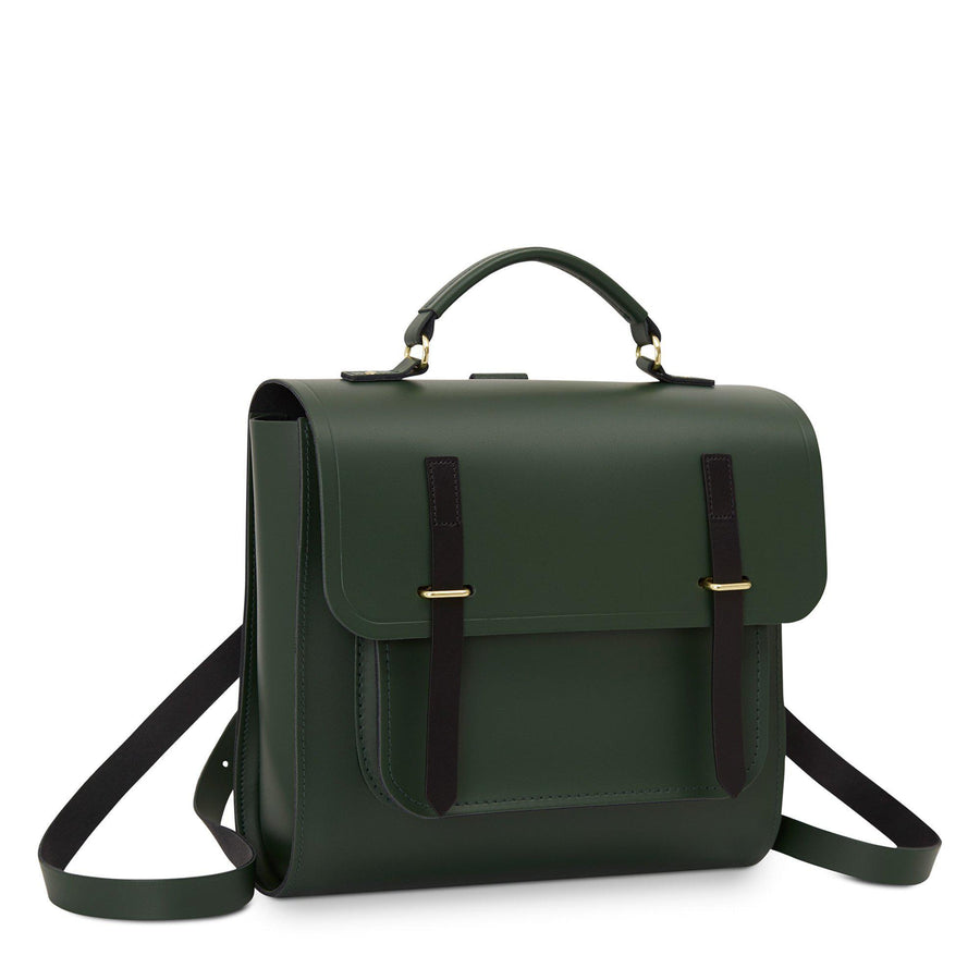 Bridge Closure Backpack in Leather - Racing Green & Black Bridle | Cambridge Satchel