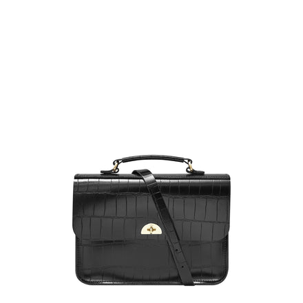 Box Bag in Leather - Black Patent Croc