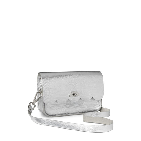 Small Cloud Bag in Leather - Silver Lizard