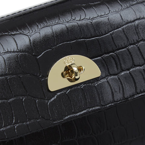 Mini Daisy Bag in Leather - Black Croc Patent