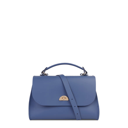 Blue Daisy Leather Cambridge Satchel Cross Body Handbag for Women