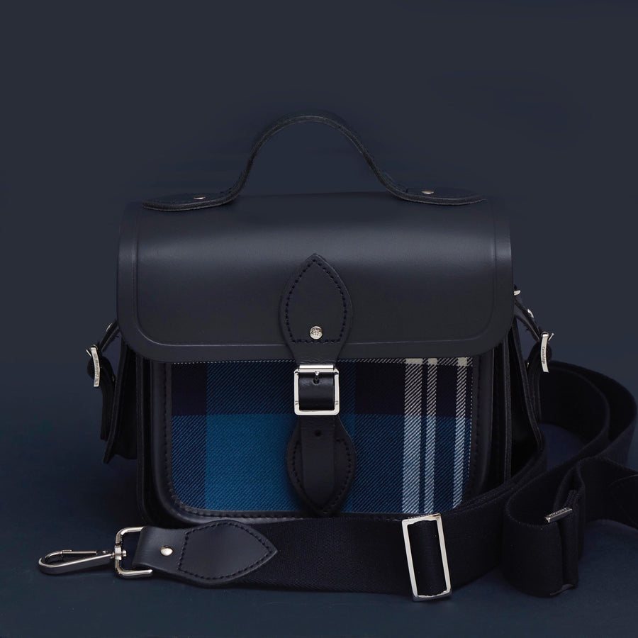 Traveller Bag with Side Pockets in Leather - Navy with St Andrews Tartan Pocket