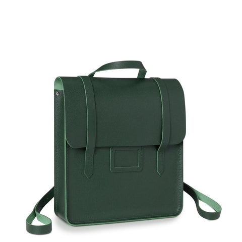 Folio Backpack in Saffiano Leather - Racing Green