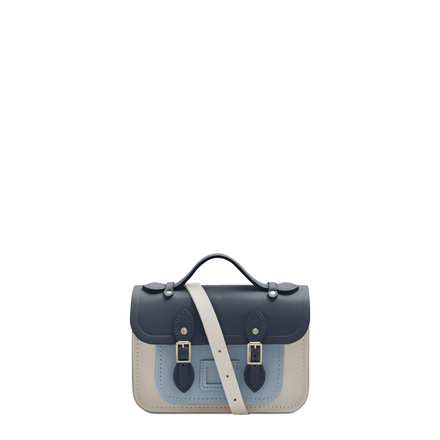 Magnetic Mini Satchel in Leather - Navy, Lily White & French Grey