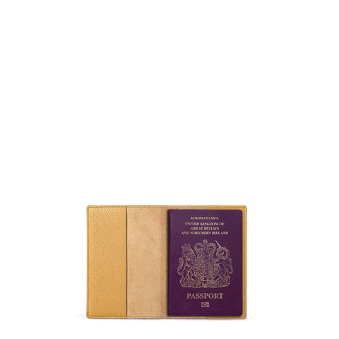 Passport Cover in Grain Leather - Mustard Grain