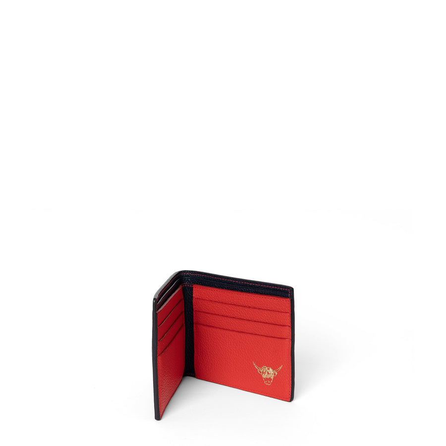 Year of the Ox Exclusive: Billfold Wallet in Leather - Navy & Red Grain