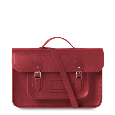 15 Inch Batchel in Leather - Red Saffiano