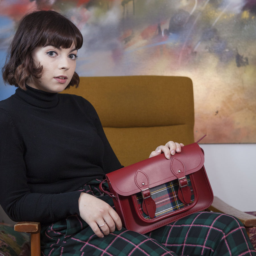 Womens- 11 Inch Classic Satchel in Leather - Red & Red Watch Tartan