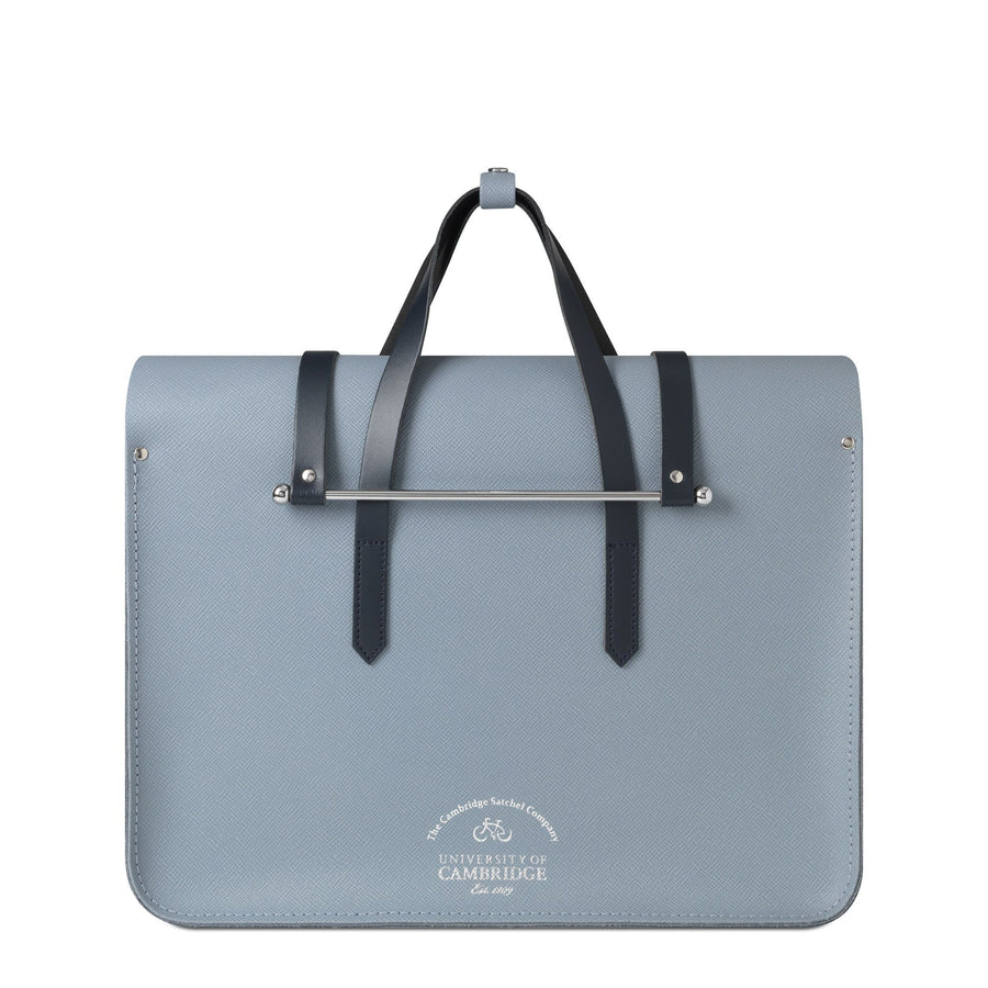 University of Cambridge Large Music Case in Saffiano Leather - French Grey Saffiano & Navy