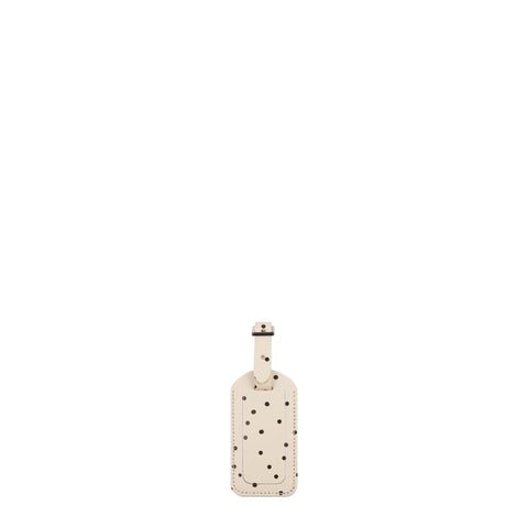 Luggage Tag in Leather - Black Dot Print on Chalk