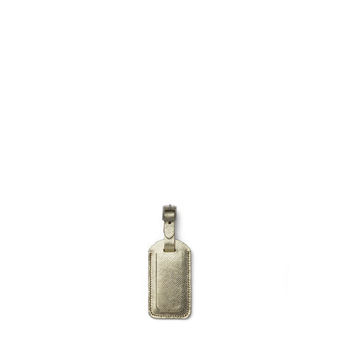 The Classic Luggage Tag in Leather - Gold Saffiano